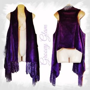 Fringed Waterfall Vest by GROOVY GLAM